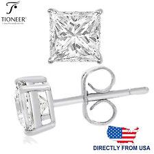 Sterling Silver 925 Square Princess Cubic Zirconia Men Women Ear Stud Earrings
