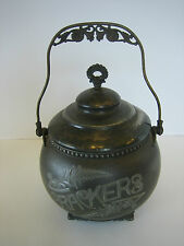 "Antique Aurora ""Crackers"" Silverplate Cracker Barrel Canister / Jar Silverplated"