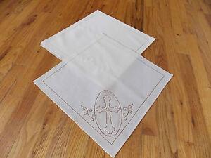 "Heritage Lace Polyster ""White"" Cross Design Square Napkins 4 piece set (82)"