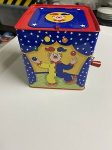 Schylling 1997 Circus Clown Jack In The Box Musical Tin Toy