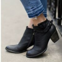 Dolce Vita 9.5 Black Leather Hilary Ankle Strap Booties