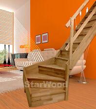 Raumspartreppe Rhodos 1/4 Gewendelt rechts mit Setzstufen & Holzhandlauf