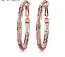 18K Rose Gold P Half And Half Crystal Hoop Chandelier Earrings Women Jewellery