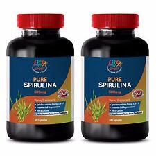 Pure Spirulina - Anti Inflammatory - Blue Green Alage - Superfood - 2 Bot 120 Ct