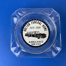 VTG Bolton Funeral Home Advertising Ashtray Funeral & Ambulance Services Kitschy