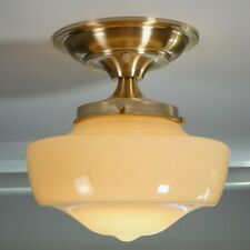 Semi-Flush Schoolhouse Light Vintage Uranium/Vaseline Glass Shade New Fixture