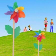 Plastic Rainbow Party Pinwheel DIY Windmill Children Toy Decor Garden C9O2