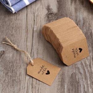 KRAFT TAG Swing Hang Paper Blank Brown Party Gift Favour Craft DIY 100Pcs LG