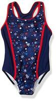 Speedo Girl's Swimsuit One Piece Infinity Splice, Red/White/Blue Stars, Size  bs