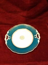 """Antique Carl Tielsch CT Germany Handled 10"""" Plate Teal Blue Gold Accents"""