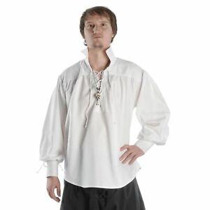 Piraten Schnürhemd Mittelalterhemd Baumwolle   Schnürung Brust & Arme Stehkragen
