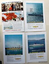 4 x American President Steamship Cruise Travel Vintage Magazine  Print Ads 1950s