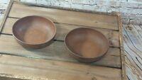 """2 Vintage Ellingers 5.5"""" Agatized Wood Bowls Cereal Soup Salad Bowls #60"""