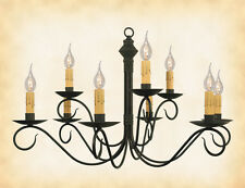 """2-Tier COLONIAL METAL CHANDELIER """"Adams"""" Handmade 9 Hand Hammered Candle Arms"""