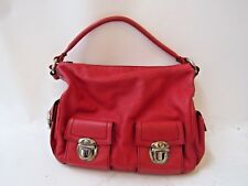 MARC JACOBS Authentic Blake Red Leather Silver Tone Shoulder Bag