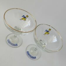 2x 1970s vintage retro Babycham glasses. Champagne/cocktails. Yellow deer coupe