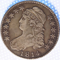 1814 CAPPED BUST HALF DOLLAR, GORGEOUS ORIGINAL SURFACES, NICELY TONED CLASSIC!!