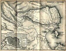 Dintorni di Siracusa e Zona Archeologica: Carta Geografica + Passepartout. 1889