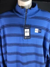 Mens Chaps Zip Sweater Long Sleeve Reversible SZ XXL Blue Navy Stripe Solid Blue