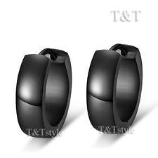 Rounded Hoop Earrings Eh02D(5x9) T&T Plain Black Stainless Steel