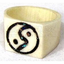 Vintage Tibetan Delicately Carved Ying Yang Taichi Fengshui Yak Bone Amulet Ring