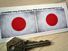 Japanese Hinomaru National Flag Dirty & Faded pair 50mm Car/Motorcycle Stickers