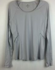 Athleta  M Womens Running Shirt Long Sleeve Fitted Light Gray Top Reflective