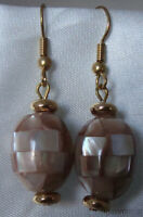 Vintage Style Mosaic Mother of Pearl MOP Mauve French Hook Dangle Earrings