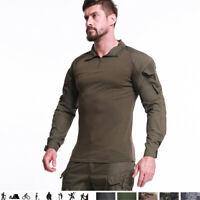 Men Military T-Shirt Tactical Combat Long Sleeve Casual Army G3 Shirt Zip Hooded
