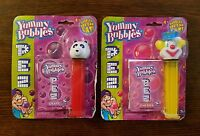 2x NIB PEZ Clown Yellow & Panda Red Yummy Bubbles Collectible 2002