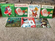 LOT OF 7 VINTAGE CHILDREN'S CHRISTMAS 45 RECORDS W/ SLEEVES NICE GRAPHICS 1960's