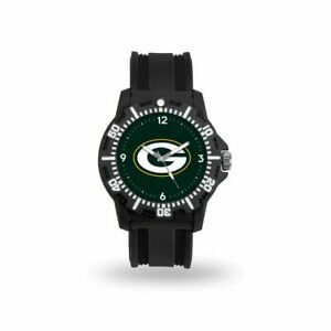 Green Bay Packers NFL Black Rubber Strap Water Resistant Mens Watch