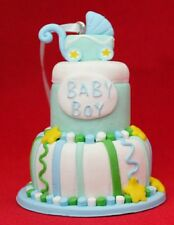 "Baby Boy Blue Cake Stroller Pram CHRISTMAS Holiday Resin 3"" Ornament Shower Gift"