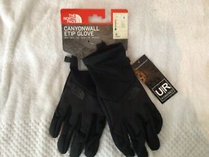 New North Face Mens Canyonwall Etip Gloves Black, NWT LARGE