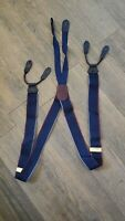 Cole Haan Men's Suspenders Leather Navy Blue Maroon Gray USA A2784 Pre-Owned