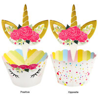 48pcs Unicorn Birthday Decoration Cupcake Wrapper+Cake Topper Party Cake Decor