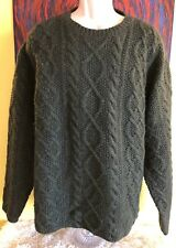 Men's J. Crew Hand Knit Chunky Fisherman Cable Wool Sweater Size XL Green