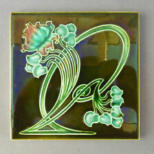 Original Art Nouveau Majolica Tile ~ Asymétrique Floral ~ RD 498030 Richards #2