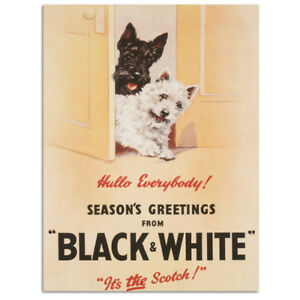 Black & White Scotch Whisky with Scotty Dogs. Pub Fridge Magnet