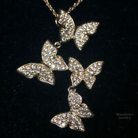 3.79Ct Diamond Butterfly Pendant Necklace 18K Gold Plated Women Jewelry YW211