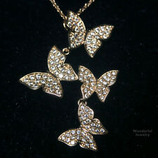Gorgeous 18K Rose Gold 3.79Ct Diamond Butterfly Pendant Cluster Necklace YW211