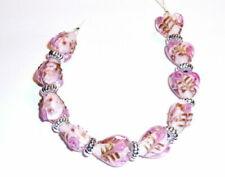 10 Pcs Pink Rose Heart Lampwork Glass Bead 15mm DIY Jewelry Making