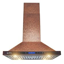 30� Island Mount Range Hood Embossed Copper 4 Speed Touch Control for Kitchen
