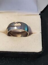 Size 10 Stainless Steel Handmade Ring Open Works Heart Love Theme Jewelry Unisex