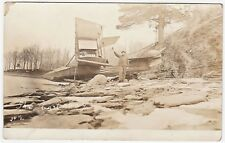 RARE RPPC - Early Glenn Curtiss Airplane Keuka Lake NY 1914 Cast away Real Photo