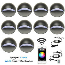 10XSmart Wifi 50mm 12V Black Half Moon LED Deck Stair Light Step Fence Wall Lamp