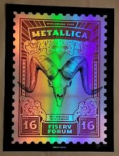Metallica Rainbow Foil Poster Milwaukee 2018 Signed and #/40 Fiserv 10/16/18