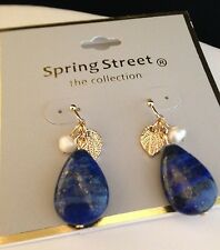 Spring Street Earrings Gold Blue Stone Simulated Pearls NORDSTROM Rack NWT r12M