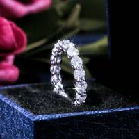 Women White Sapphire 925 Sterling Silver Wedding Claw Promise Ring Jewelry Gift