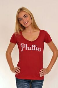 Philadelphia Phillies Cooperstown Red VNeck for Women